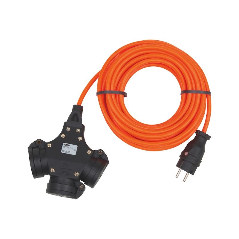 Schutzkontakt-Verlängerung H07BQ-F3G1,5 - VERLLTG-3WEG-(H07BQ-F3G1,5)-16A-250V-25M