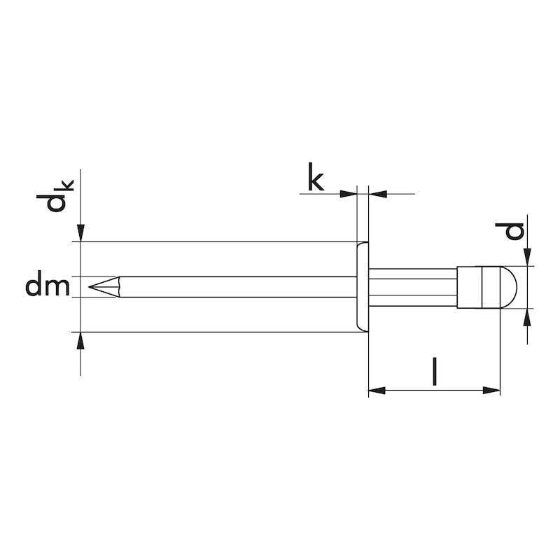 Blindniet Flachkopf - NT-FL-ALU/A2-(6,4-12,7)-4X17