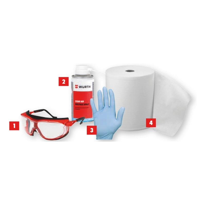 Kit 4 con occhiali, Clean Air, guanti più rotolo