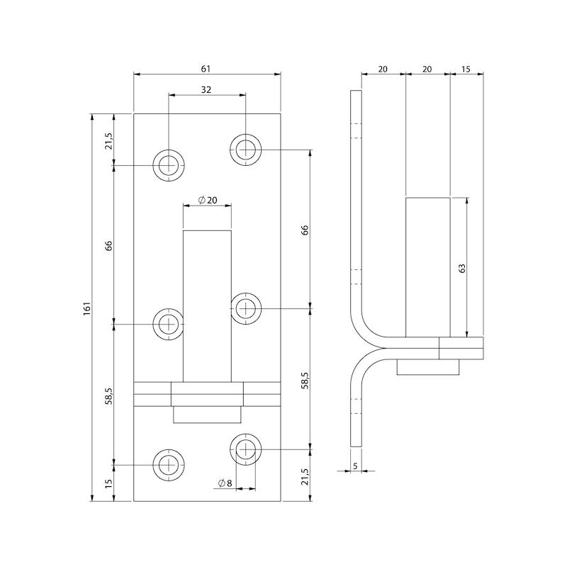 Kloben - TRKLOB-1-ST-(ZN)-BLAU-D13MM-104X36