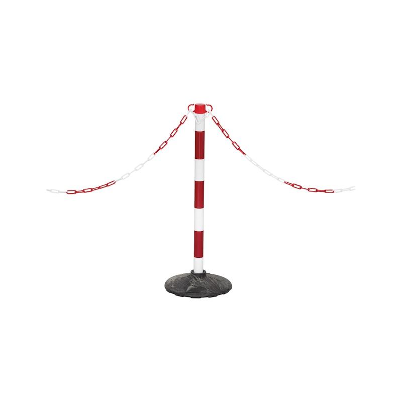 Absperrpfosten Kunststoff mit Fuß für Absperrketten - PFOST-KST-H93CM-M.GRNDPL-ROT/WEISS