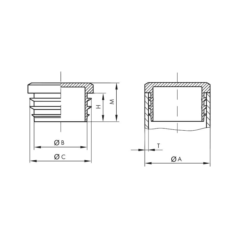 Tappo a pressione GPN 320 - TAPPO-LAMELLE-GPN320-GL- 22-NERO