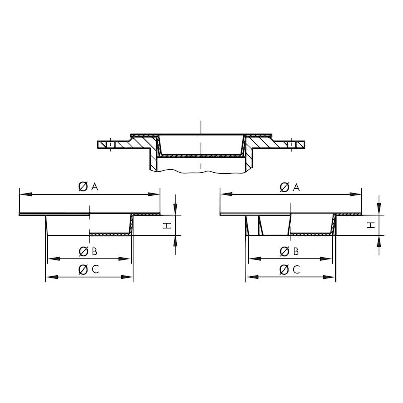 Flanschabdeckungen GPN 650 Form B - STO-GPN650/50-R-GELB