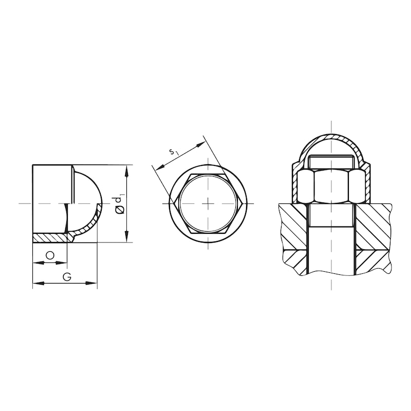 Abdeckkappe Sechskantkopf GPN 1000 - 2