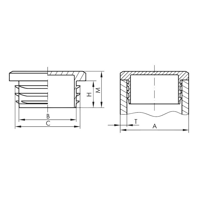 Tappo quadro GPN 260 Q - TAPPO-RETTANG-GPN260-Q-120120-NERO