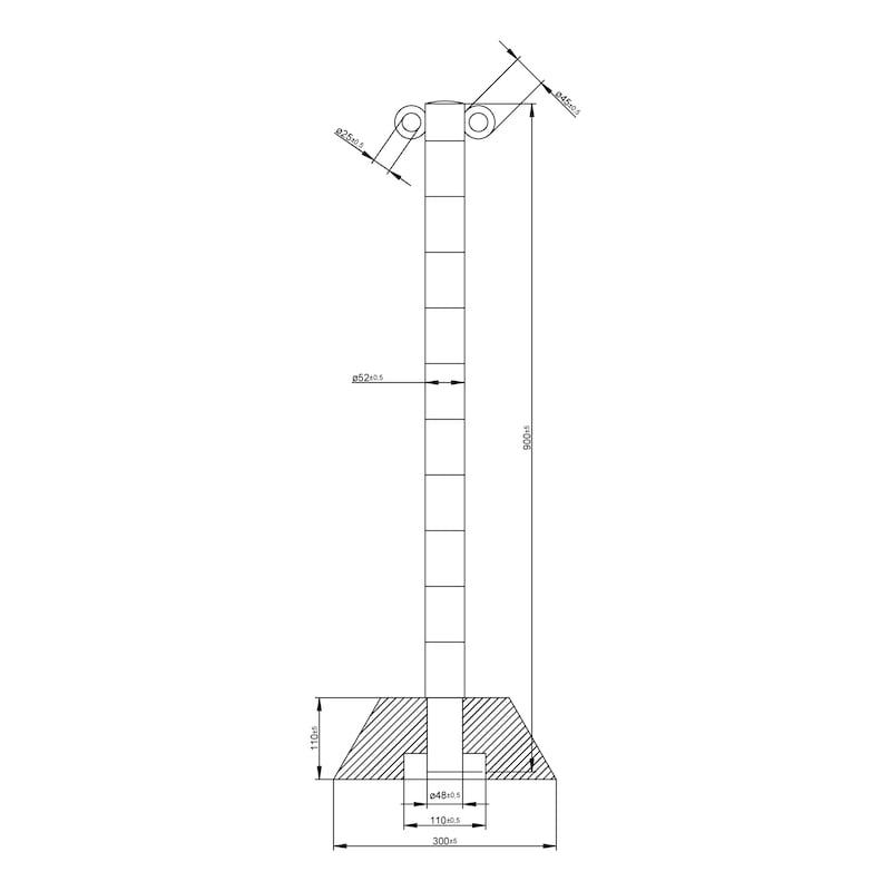 Absperrpfosten Aluminium mit Fuß für Absperrketten - PFOST-ALU-H90CM-M.GRNDPL-SCHWARZ/GELB