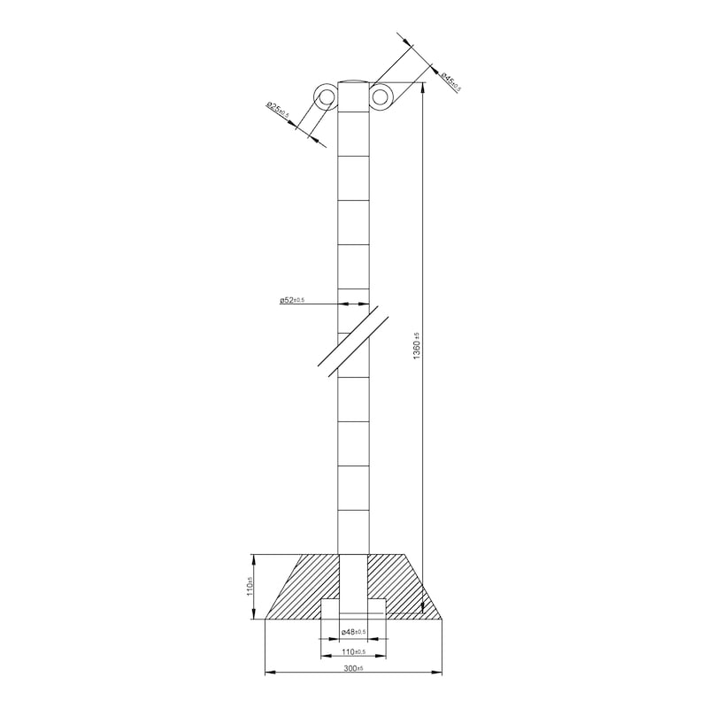 Absperrpfosten Aluminium mit Fuß für Absperrketten - PFOST-ALU-H1,4M-M.GRNDPL-ROT/WEISS