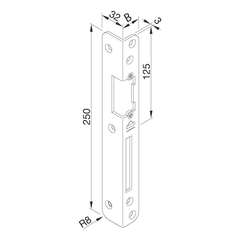 Central locking plate for recessing - AY-ANGLLOKPLT-DRLOK/EL-L-SILV-4-9-10