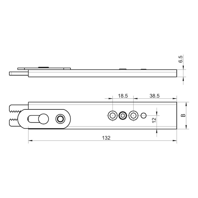 Anschlussteil oben zum Einfräsen für 4 mm Falzluft - ZB-SFB-MFACHVRIGL-ANSHLTL-SILBR-R-U29-13