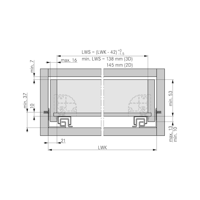 Underfloor guide full extension Dynapro Tipmatic 40 kg - 6