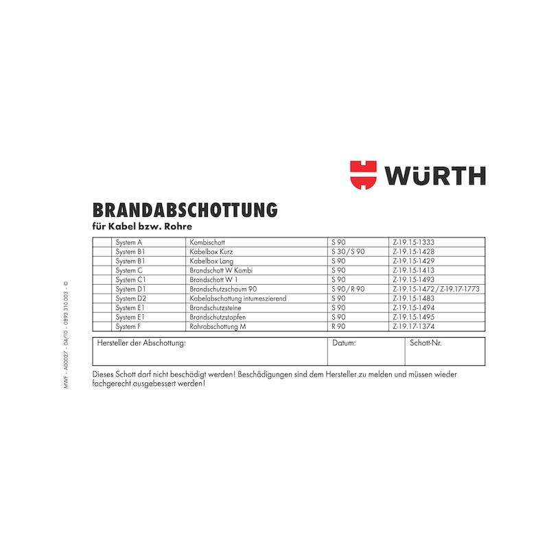 Kennzeichnungsschild Brandabschottung - KENNZSHLD-ROHRE-KBL