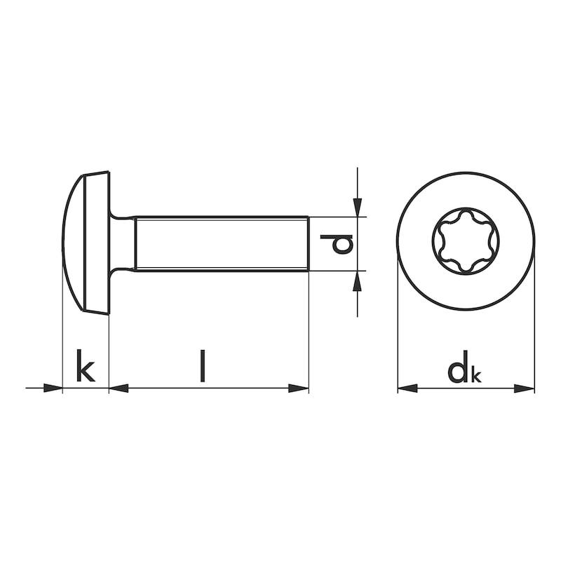 Linsenschraube mit Innensechsrund - SHR-LIKPF-DIN7985-8.8-TX20-(A2K)-M4X50