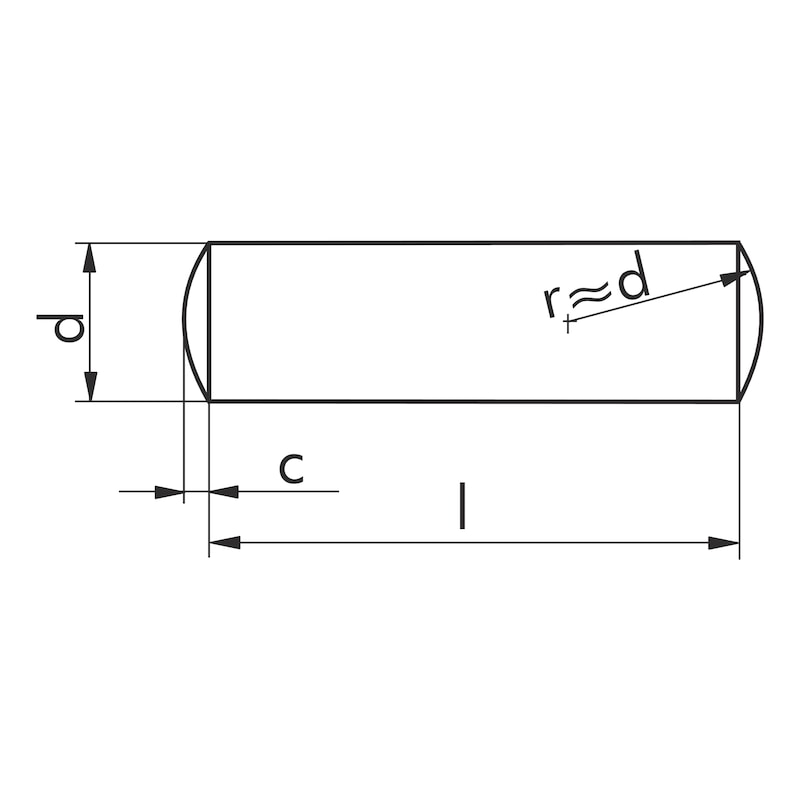 Zylinderstift ungehärtet - STI-ZYL-DIN7-UNGEH-M6-A4-8X32