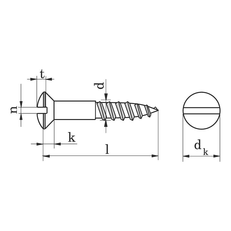 Holzschraube DIN 95 Messing Linsensenkkopf mit Schlitz - SHR-LISEKPF-DIN95-HO-SZ-MS-4,5X25