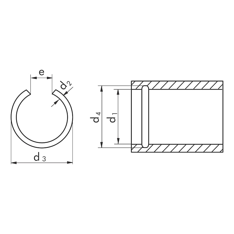 Round wire snap ring and snap ring groove shape RB for drill holes - SNAPRG-DIN7993-RB-D60,0