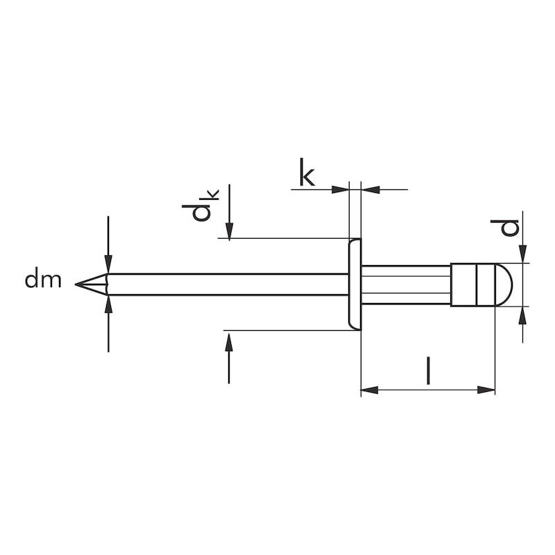 Blindniet Flachrundkopf - NT-FL-ALU/A2-(1,5-6,5)-4,8X10