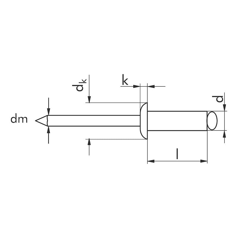 ブラインドリベット、丸なべ頭 - ブラインドスチールリベット 5.0X30.0