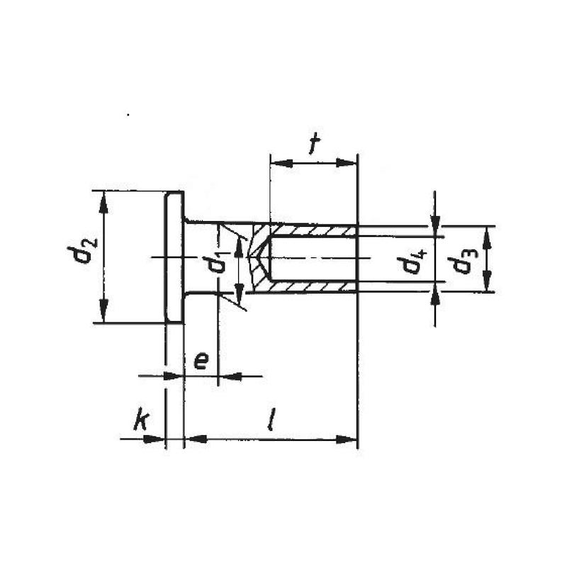 DIN 7338 brass, shape B - RIV-MHD-DIN7338-BRS-B-4X8