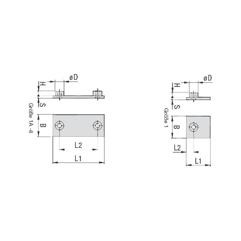 Schweißplatte Premium Teil 1 - kurze Ausführung Typ SP - SHWSPL-DIN3015-1-SP-W2-GR1A/1