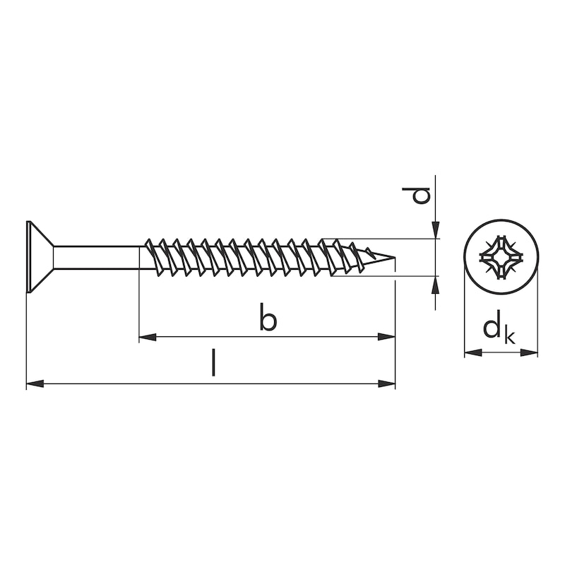 Particle board screw Wüpofast <SUP>®</SUP> 2.0 - SCR-CS-MPK-WO-CT-Z2-(A2L)-3,5X40/24