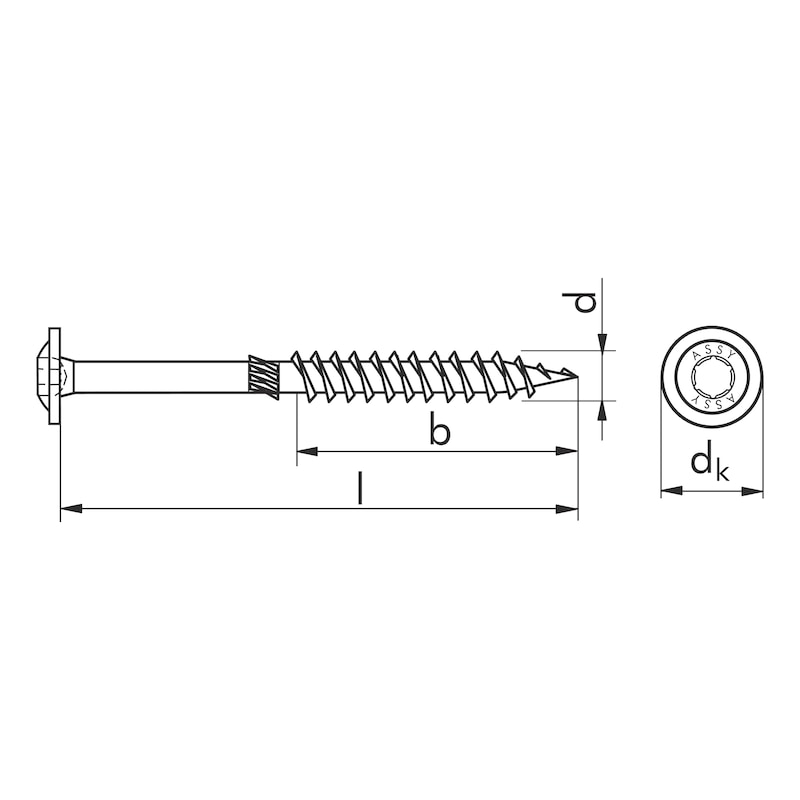 ASSY<SUP>®</SUP> 3.0 SK Timber screw - SCR-SK-WO-AW50-(A2L)-12X260/120