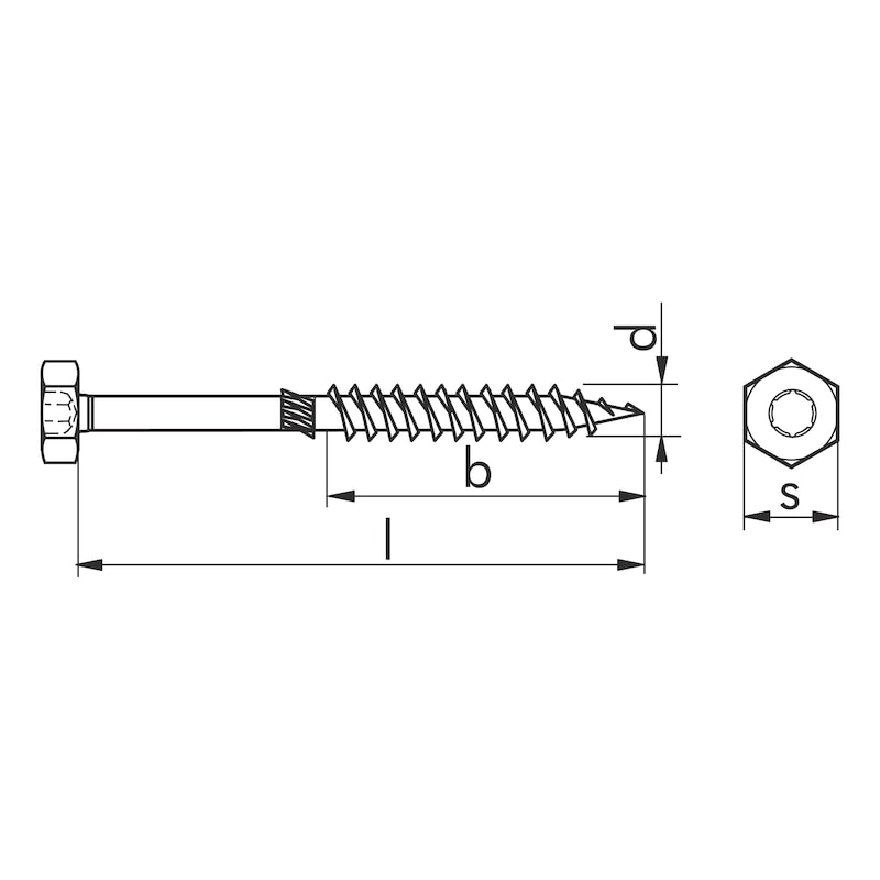 ASSY<SUP>®</SUP> 3.0 combi  Timber screw - SCR-WO-HEX-AW40-(A3K)-10X320/120