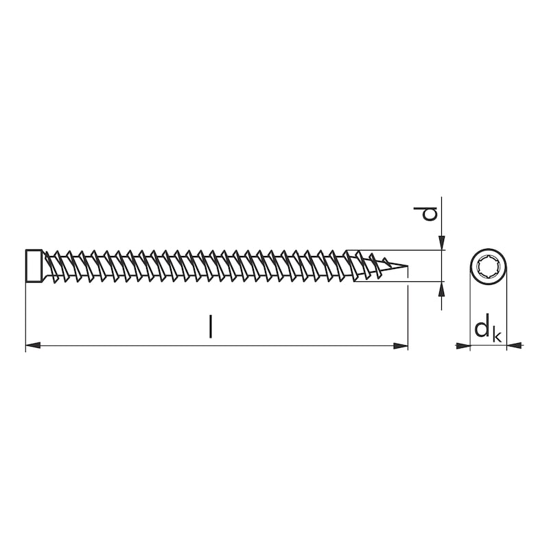AMO<SUP>® </SUP>III spacing assembly screw 7.5 type 2 cylinder head 8.0 mm - SCR-AW30-(A2L)-7,5X72