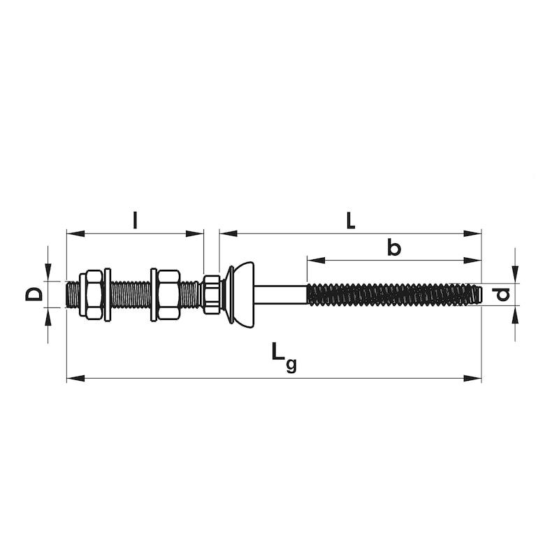 Solarbefestiger WSF Typ BZ-Variante 1 - SOLARBEFE-BZ-PLDI-A2-8,0X200-M10X50