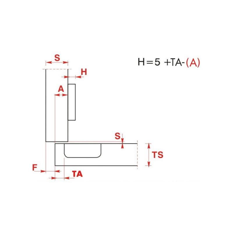 Möbelscharnier  EasyClick - SHAN-EACL-D-ANSHRB-52/5,5-110-K09