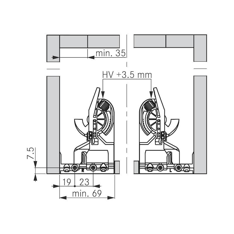 Unterflurführung Vollauszug Dynamoov Tipmatic 30 kg - 4