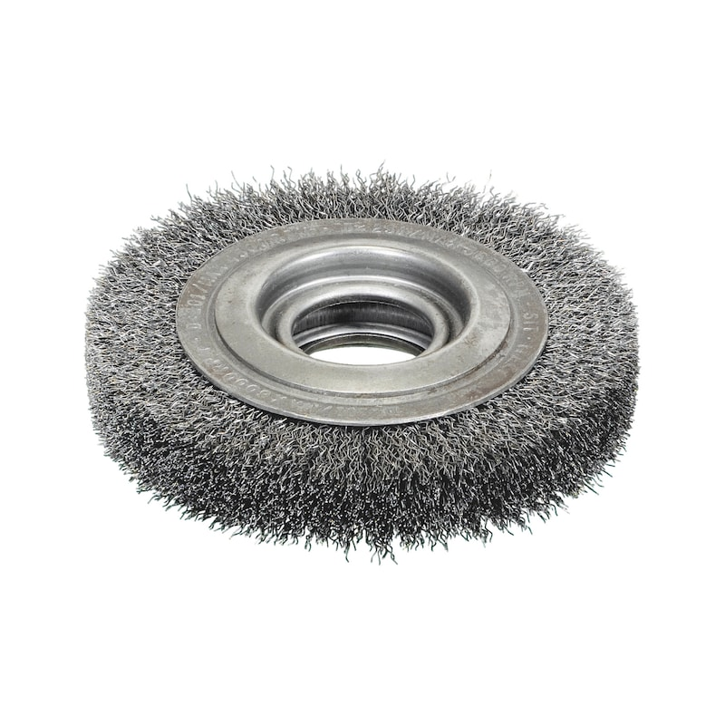 Spazzola circolare per smerigliatrici da banco con filo ondulato in acciaio ad alta densità e lunghezza ridotta - 1