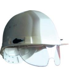 Photo de Casque de chantier blanc avec lunettes intégrées