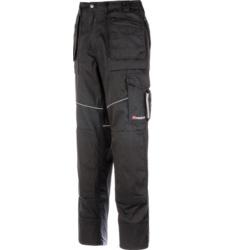 Arbeitshose schwarz für Dachdecker & Handwerker, robustes Material, elastischer Bund, EN 14404 Knietaschen