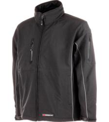 Schwarze Softshelljacke für Handwerker, atmungsaktiv, wind- und wasserabweisend, mit praktischen Taschen