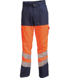 Photo de Pantalon haute visibilité orange fluo/marine EN 471 2.2