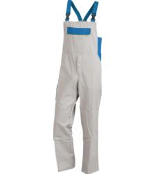 Latzhose grau für Fliesenleger, EN 14404 zertifiziert, günstig & komfortabel, aus Baumwollmischgewebe