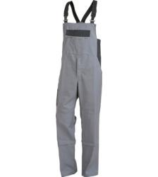 Arbeitslatzhose grau für Bauarbeiter, EN 14404 zertifiziert, Baumwollgemisch, günstig und robust