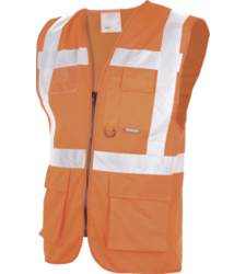 Gilet Executive con portabadge arancio fluo