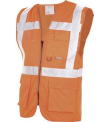 Warnschutzweste Executive mit Ausweishalter neon orange