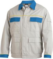 Arbeitsjacke grau für Fliesenleger, praktisch und funktionell, aus Mischgewebe, strapazierfähig, Blousonform