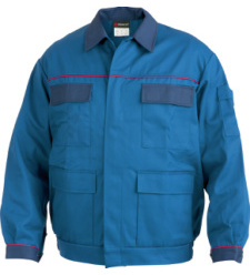 Arbeitsjacke blau für Elektriker, günstig & praktisch, robustes Baumwoll Polyester Mischgewebe, viele Taschen