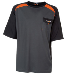 Foto von Arbeits T-Shirt Work dunkelgrau orange