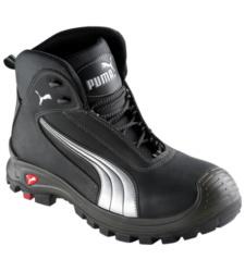 Sportieve hoge veiligheidsschoenen van Puma, wit en zwart, comfortabel en modern