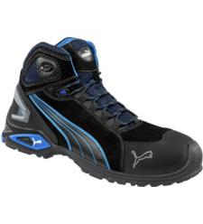 Hoge, trendy en comfortabele Puma Rio veiligheidsschoenen, modern ontwerp, S3 SRC norm, blauw