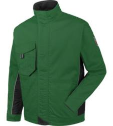 Groen werkjack voor tuinlieden, functionele en moderne pasvorm, verstevigde naden en verlengde achterkant.