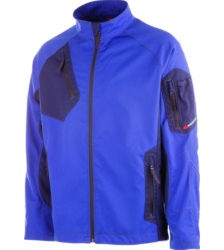 Arbeitsjacke blau für Elektriker, bequem und elastisch, mit Unterarmbelüftung und Stehkragen