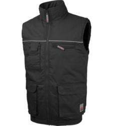 Comfortabel warm werkgilet, lichte en elastische stof, onderhoudsvriendelijk, zwart.