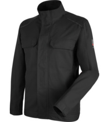 Hautfreundliche Bundjacke, metallfreie Handwerkerjacke, bequeme Arbeitsjacke ISO 15797, Jacke für professionelle Reinigung geeignet, schwarze Jacke für Dachdecker