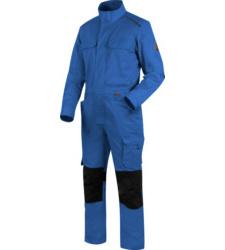Industriewäschetauglicher Blaumann, praktischer Blaumann, Arbeitsoverall ISO 15797 zertifiziert, Arbeitsoverall blau, Arbeitsoverall mit Knietaschen