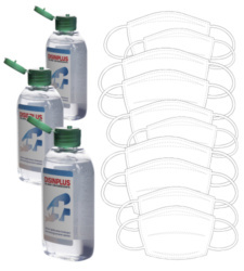 foto di Kit Covid-19 gel igienizzante e 10 mascherine lavabili bianche